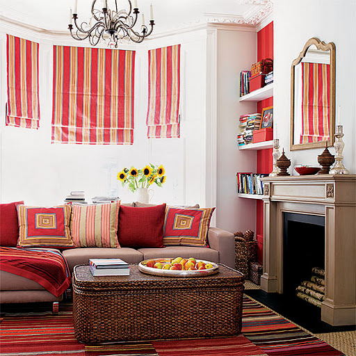Living room design decor orange stripes striped fall for Fall colors living room ideas