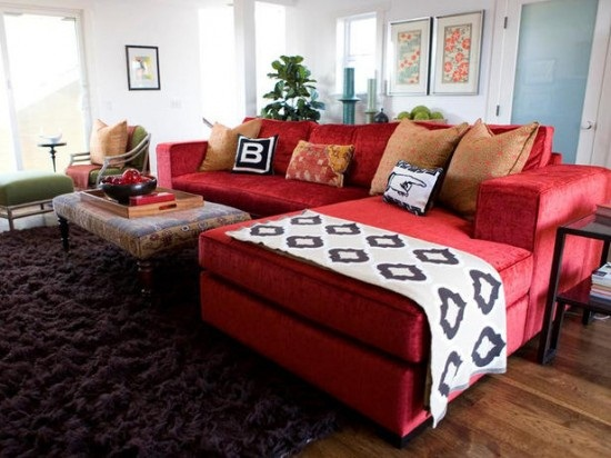 red leather sofa decorating ideas