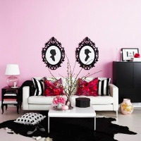 PINK-WALLS-WITH-B&W-SILHOUETTE-ART design dazzle
